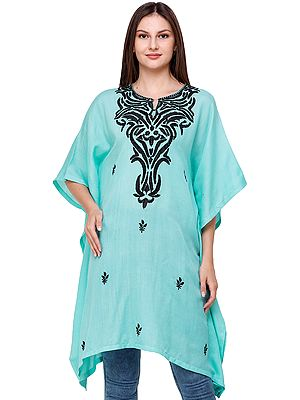 Aqua-Sky Short Kaftan from Kashmir with Ari Embroidery