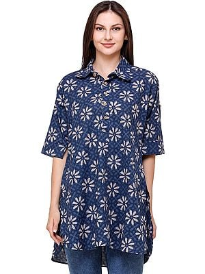 Insignia-Blue Summer Tunic Pilkhuwa Shirt with Bagdoo Print