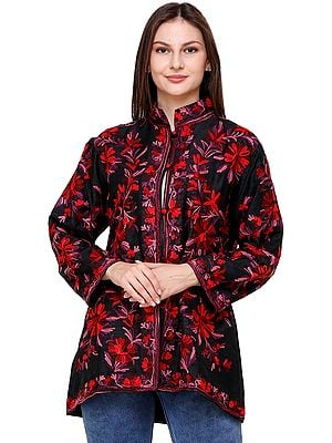 Pirate-Black Kashmiri Jacket with Ari-Embroidered Flowers in Red