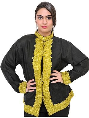 Black and Antique Gold Kashmiri Jacket with Ari-Embroidered Paisleys