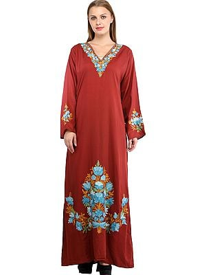 Cinnabar Long Gown from Kashmir with Hand-Embroidered Florals