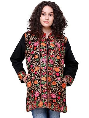 Caviar-Black Jacket from Amritsar with Ari Embroidered Flowers in Multicolor Thread