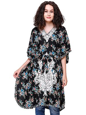 Jet-Black Short Floral Printed Kaftan from Kashmir with Ari-Embroidery and Dori at Waist