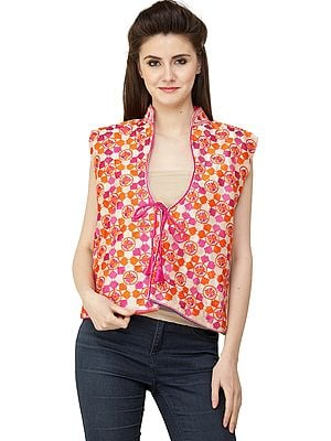 Very-Berry Phulkari Short Waistcoat from Punjab with Floral Embroidery