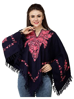 Mood-Indigo Poncho from Kashmir with Ari Hand-Embroidered Flowers