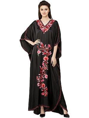 Pirate-Black  Long Kashmiri Kaftan with Ari Embroidered Flowers
