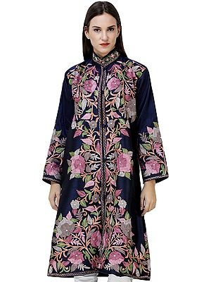 Navy-Blue Long Jacket from Kashmir with Embroidered Multicolor Flowers All-Over