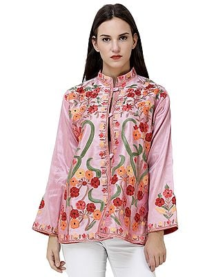 Short Kashmiri Jacket with Ari-Embroidered Multicolor Flowers