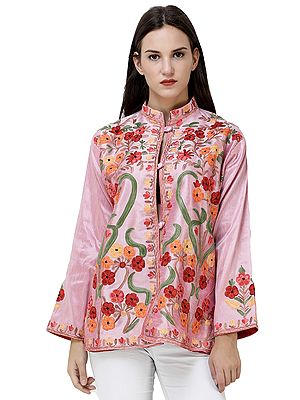 Short Kashmiri Jacket with Ari-Embroidered Multicolor Flowers