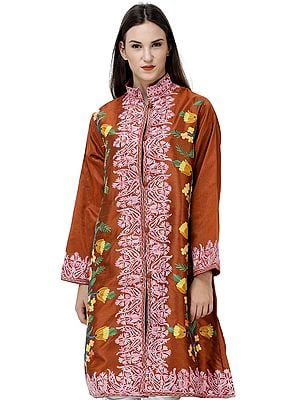 Sierra-Brown Long Kashmiri Jacket with Embroidered Multicolor Flowers