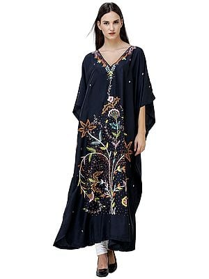 Pirate-Black Long kashmiri Kaftan with Ari-Embroidery and Embellished Sequins
