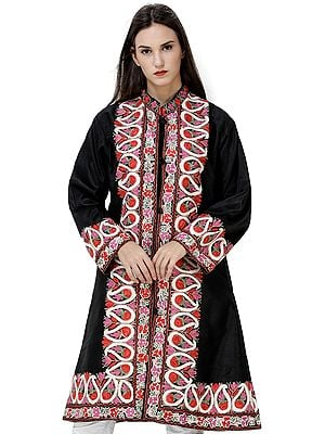 Jet-Black Long Kashmiri Jacket with Embroidered Multicolor Flowers and Paisleys