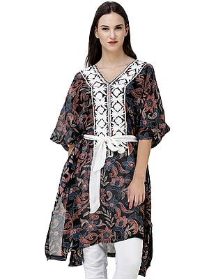 Midnight-Black Floral Printed Short Kaftan from Kashmir with Embroidery on Neck and Waist Sash