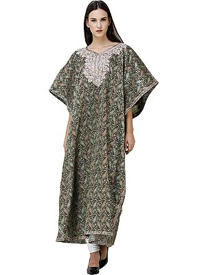Caviar-Black Long Kashmiri Kaftan with Zari-Embroidered Paisleys All-Over