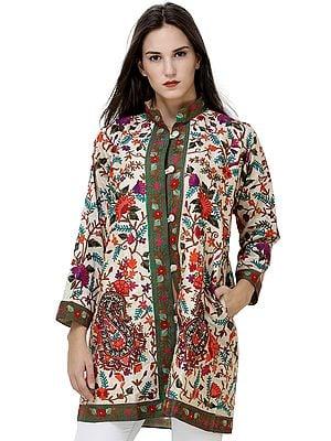 Sand-Dollar Short Kashmiri Jacket with Multicolor Ari Embroidered Flowers