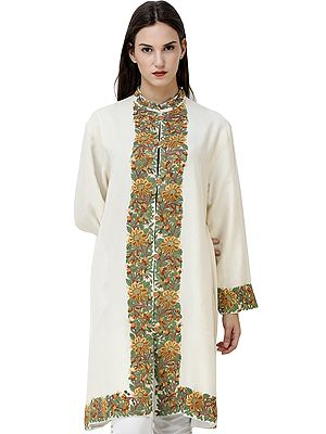 Banana-Cream Long Kashmiri Jacket with Hand-Embroidered Flowers