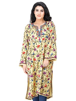 Phiran from Kashmir with Ari Hand-Embroidered Multicolor Flowers All-Over