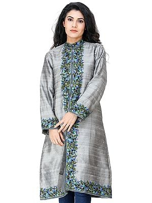 Silver-Gray Long Jacket from Kashmir with Floral Ari Embroidery by Hand