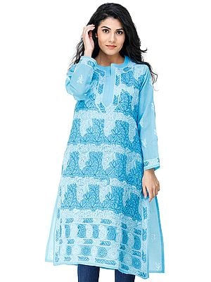Aquarius-Blue Lukhnavi Chikan Kurti with Embroidered Flowers All-Over