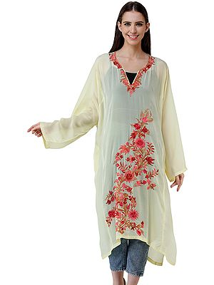 Short Phiran from Kashmir with Embroidered Flowers
