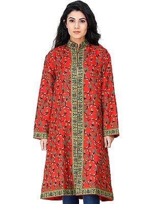 Bittersweet-Red Long Jacket from Kashmir with Embroidered Floral Vines and Paisleys All-Over
