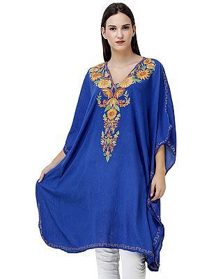 Imperial-Blue Short Kaftan from Kashmir with Embroidered Flowers on Neck