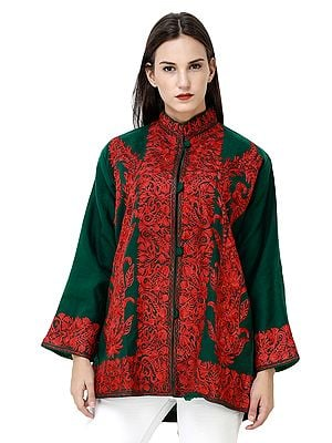Trekking-Green Short Jacket from Kashmir with Embroidered Paisleys