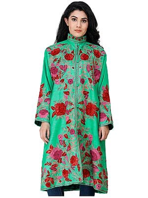 Mint-Leaf Green Long Kashmiri Jacket with Embroidered Flowers in Multicolor Thread