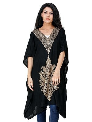 Caviar-Black Short Kaftan from Kashmir with Embroidered Paisleys