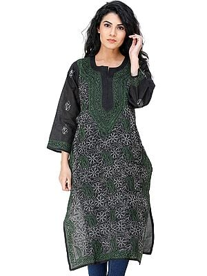 Jet-Black Lukhnavi Chikan Kurti with Embroidered Flowers and Paisleys  All-Over