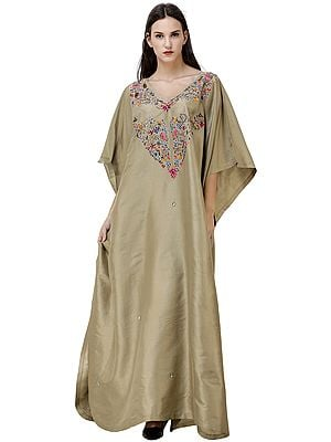 Safari Long Kaftan from Kashmir Embellished with Multicolor Crystals and Sequins
