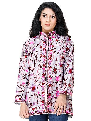 Orchid-Hush Short Jacket from Kashmir with Embroidered Flowers All-Over