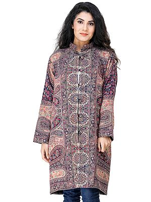 Natural Long Jacket from Amritsar  with Multiocolored Kani Weave All-Over