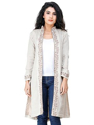 Almond-Milk Long Jacket from Kashmir with Chain Stitch Embroidered Flowers