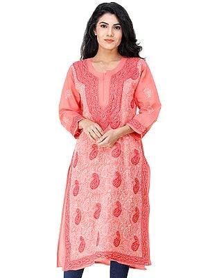 Porcelain-Rose Long Kurta Top / Kameez from Lucknow with Chikan Embroidery