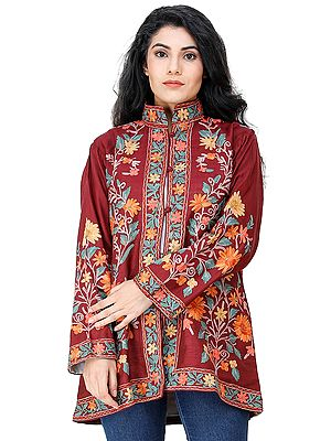 Rumba-Red Short Jacket from Kashmir with Chain Stitch Embroidered Flowers All-Over