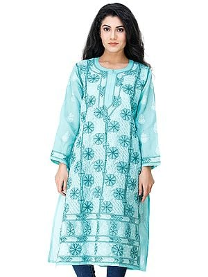 Splish-Splash Long Kurta Top / Kameez  from Lucknow with Chikan Embroidery