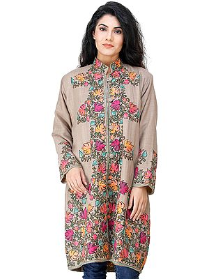 Warm-Taupe  Long Jacket from Kashmir  with Chain stitch Embroidered Multi-colored Chinar Leaves