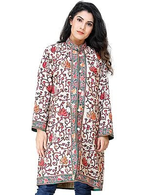 Macadamia Long Jacket from Kashmir with Chain-stitch Embroidered Multi-colored Flowers
