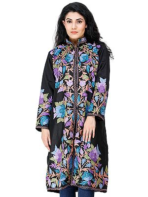 Jet-Black Long Jacket from Kashmir with Chain Stitch Embroidered Multi-colored Flowers