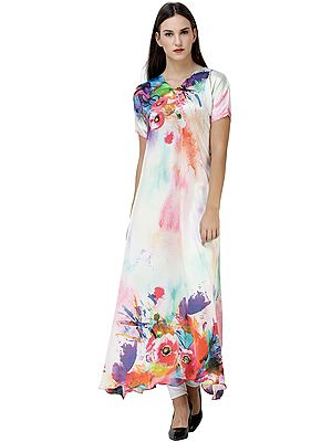 Hint-of-Mint Multicolor Long Top from Kashmir with Digital Print