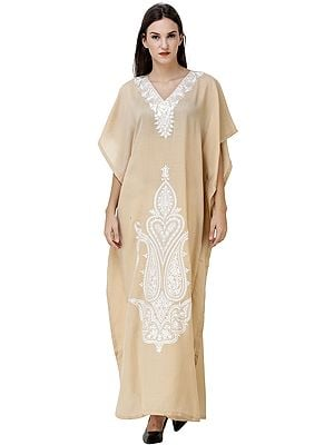 Almond-Buff Kaftan from Kashmir with Ari Embroidered Paisleys