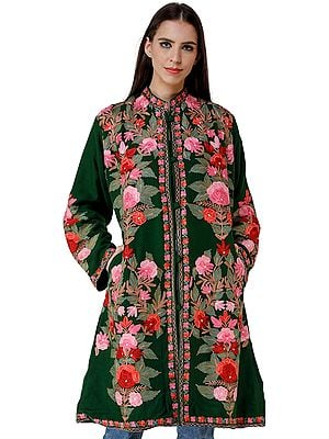 Long Jacket from Kashmir with Chain stitch Embroidered Pastel Flowers All-Over