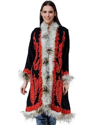 Long Coat from Kashmir with Faux-Fur and Chain-stitch Embroidered Paisleys and  Flowers