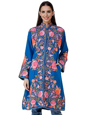 Methyl-Blue Long Jacket from Kashmir with Chain-stitch Embroidered Pastel Flowers