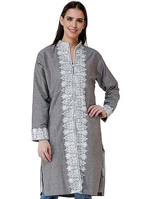 Walnut Long Linen Jacket from Kashmir with Chain Stitch Embroidery