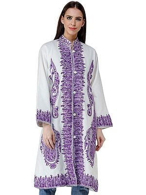 Snow-White Long Jacket from Kashmir with Purple Chain stitch Embroidered Flowers
