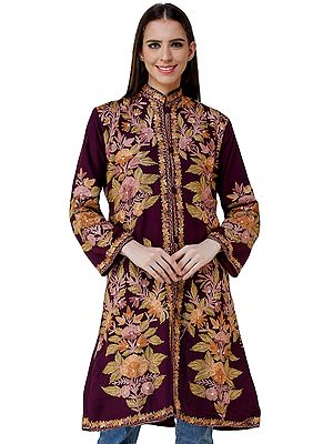 Grape-Wine Long Jacket from Kashmir with Chain stitch Embroidered Flowers