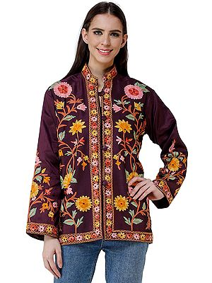 Purple-Potion Silk Jacket from Kashmir with Vibrant Chain-stitch Embroidered Flowers