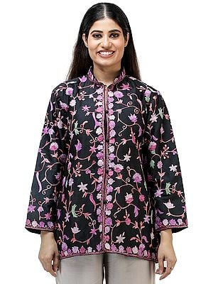Black-Sand Jacket from Kashmir with Vibrant Chain-stitch Embroidered Flowers